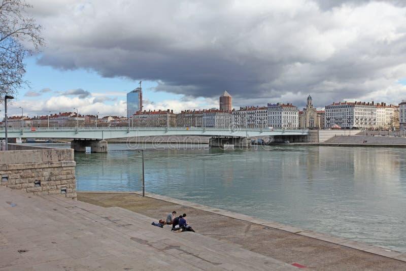 Lyon, el río Rhone imagen de archivo