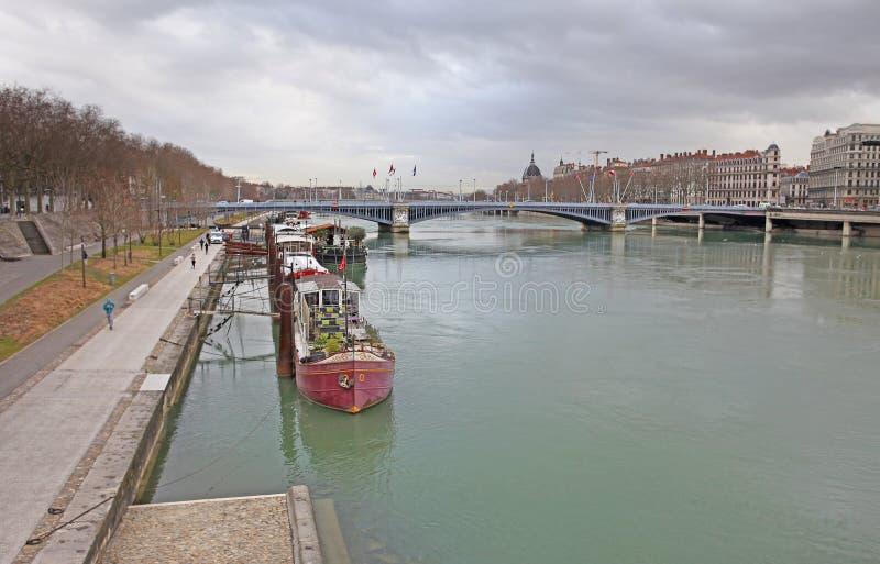 Lyon, el río Rhone imagenes de archivo