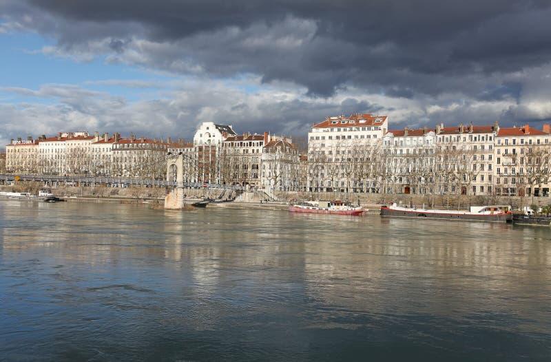 Lyon, el río Rhone foto de archivo