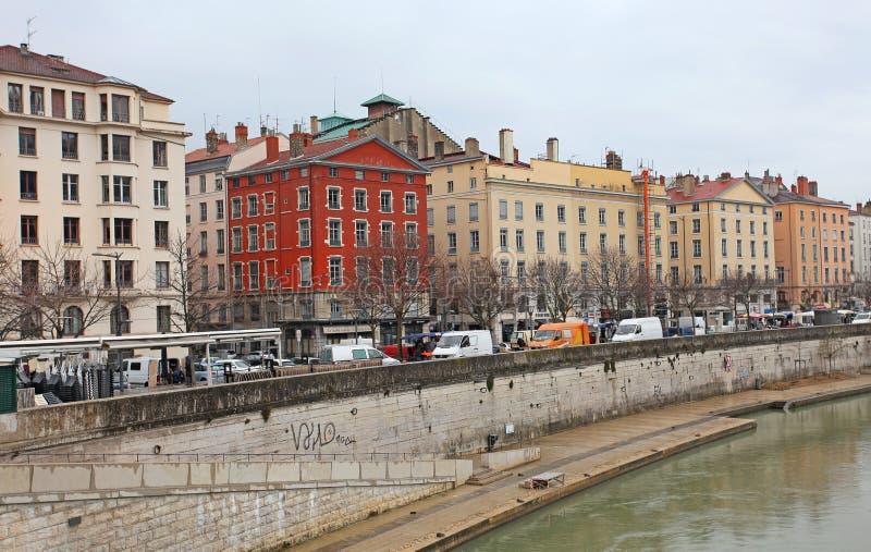 Lyon, el río Rhone fotografía de archivo