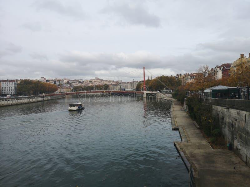 Lyon et la rivière vieille ville du Rhône, Lyon, France photographie stock libre de droits