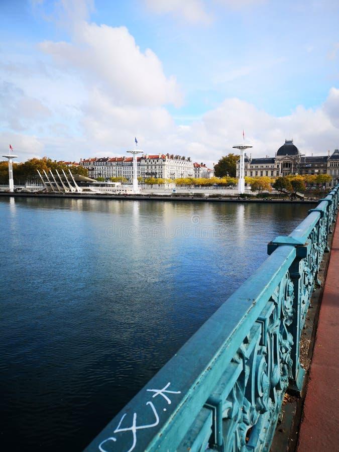 Lyon et la rivière vieille ville du Rhône, Lyon, France images libres de droits