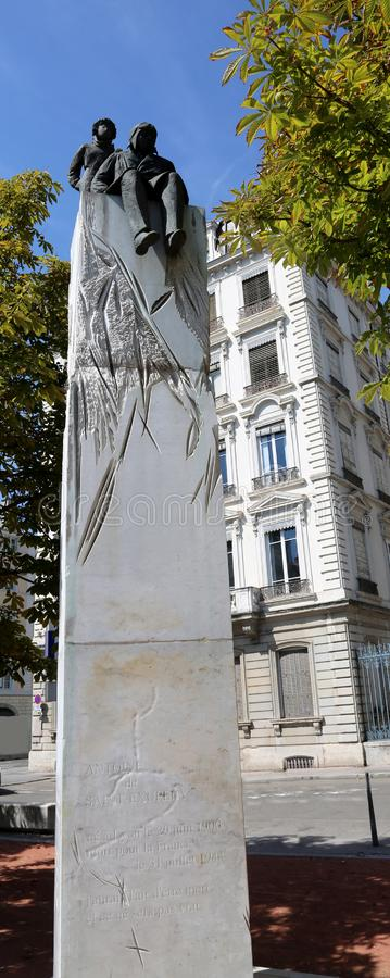 Lyon, France - August 16, 2018: Monument of writer Antoine de Sa. Int Exupery author of Little Prince stock photography