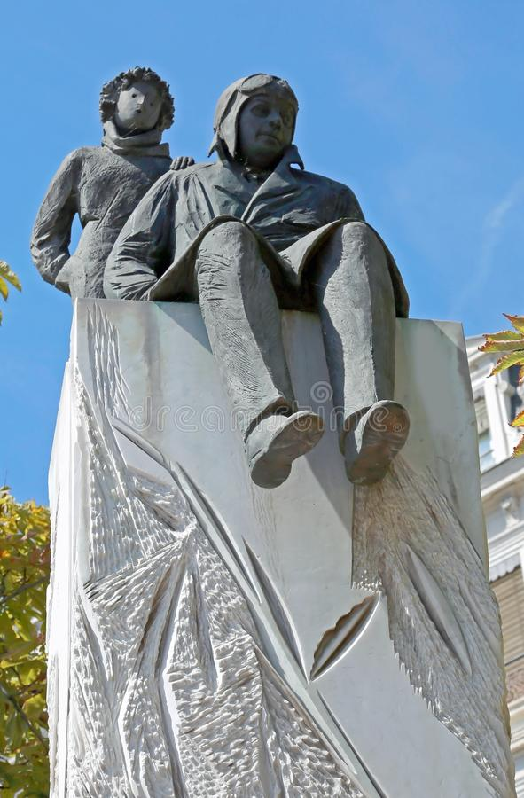 Lyon, France - August 15, 2018: Statues of Little Prince and the. Writer antoine de saint-exupery royalty free stock images