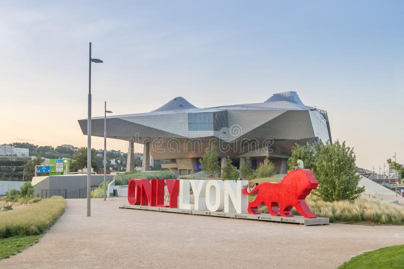 Lyon Musee des Confluences. Lyon, France - 25. August 2017. View of the new Musee des Confluences, a modern Museum Building royalty free stock photo