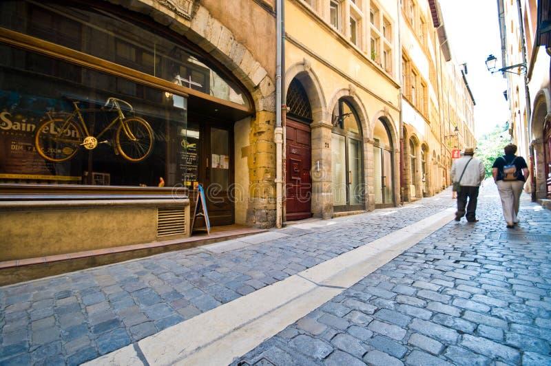Lyon France cobblestone narrow street stock photo