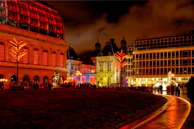 Download Lyon (France) - Comedie Square At Night Stock Photo - Image: 1889116