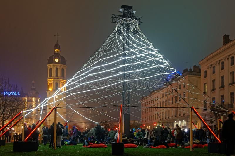 Crowd at the Festival of Lights on Place Antonin Poncet. LYON, FRANCE, December 5, 2019 : Crowd at the Festival of Lights on Place Antonin Poncet. For 4 nights royalty free stock images