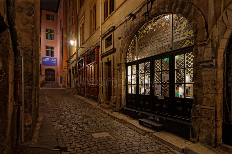 Winter night in Vieux-Lyon streets royalty free stock photo