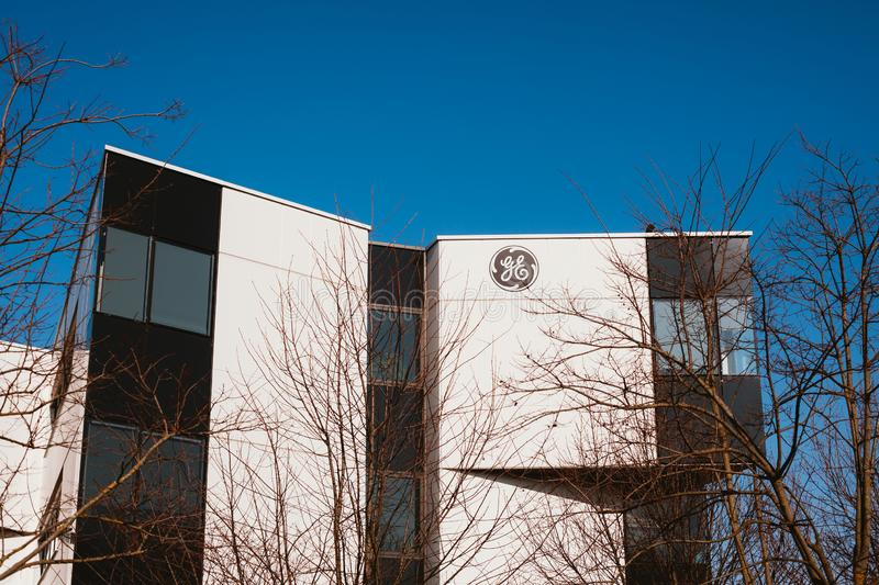 General Electric Company logo at its building stock photos