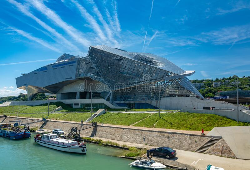Musee des Confluences in Lyon, France. Lyon, France - July 18, 2018: The Musee des Confluences is a science centre and anthropology museum, located at the royalty free stock photography