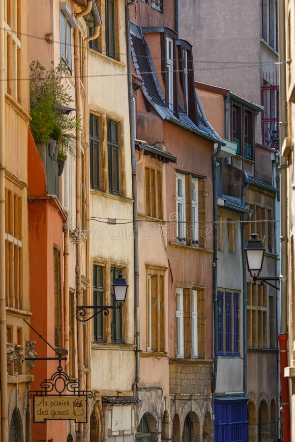 Narrow street in the historic centre of Lyon, France stock photos