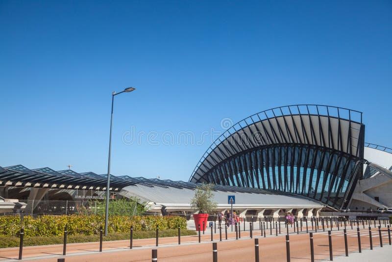 Main building of Lyon Saint Exupery Airport TGV Train station main building. Designed by Santiago Calatrava Valls. LYON, FRANCE - JULY 13, 2019:  ..Picture of royalty free stock photo
