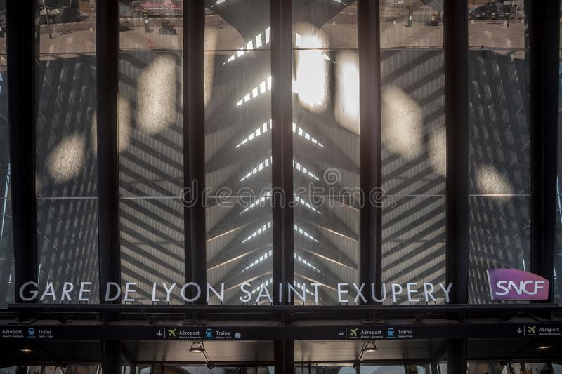 Lyon Saint Exupery Airport Train station main entrance with the logo of French Railways, SNCF. LYON, FRANCE - JULY 13, 2019:  ..Picture of the main entrance to stock photography