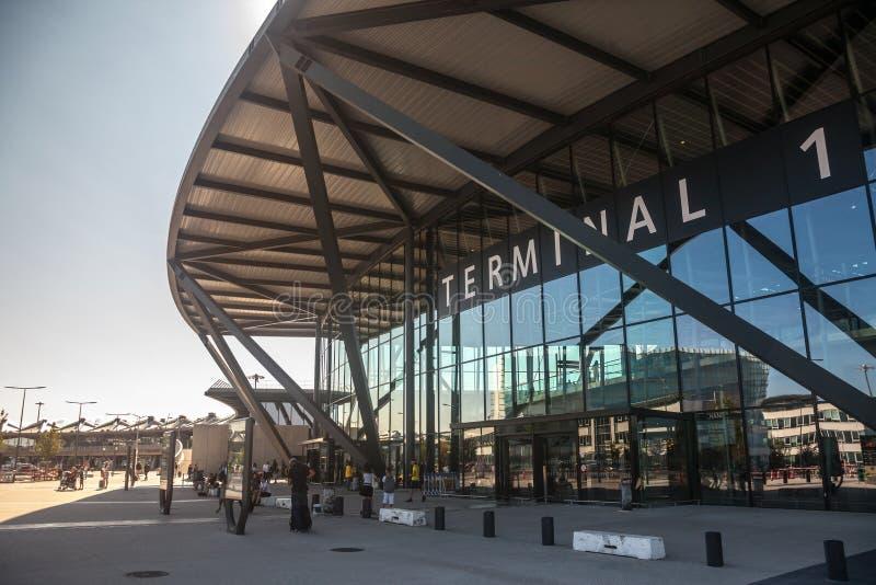 Main entrance to Terminal 1 of Aeroport de Lyon Saint Exupery Airport, formerly Satolas, the main international airport of Lyon. LYON, FRANCE - JULY 13, 2019 royalty free stock image