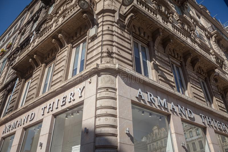Armand Thiery Logo in front of their shop for Lyon. Armand Thiery is a French fashion retailer focused on men clothing. LYON, FRANCE - JULY 13, 2019: ..Picture royalty free stock image