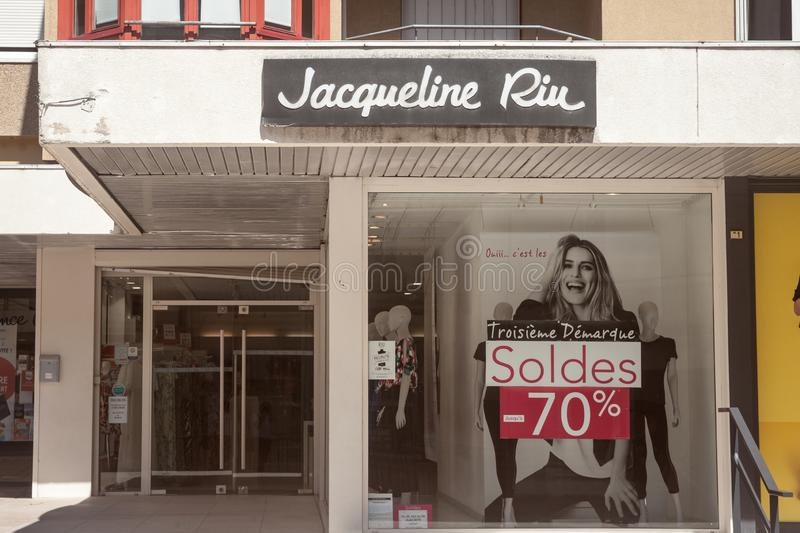 Jacqueline Riue Logo in front of their shop for Lyon. Jacqueline Riu is a French fashion retailer focused on women clothing. LYON, FRANCE - JULY 16, 2019 royalty free stock image