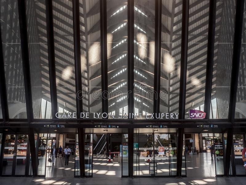 Lyon Saint Exupery Airport Train station main entrance with the logo of French Railways, SNCF. LYON, FRANCE - JULY 13, 2019:   It is the station connecting royalty free stock photo