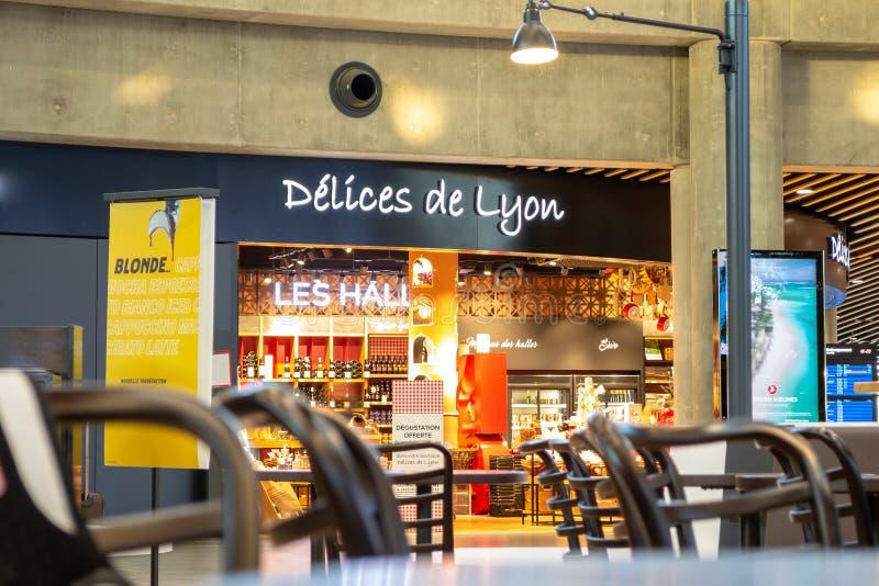`Delices de Lyon` shop inside terminal 1 at Saint Exupery airport, Lyon. This is a grocery shop. Lyon, France - 16 March 2019: `Delices de Lyon` shop inside stock image