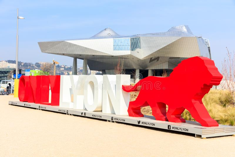 OnlyLyon, the city branding word in front of the Musee des Confluences. LYON, FRANCE, MARCH 15, 2016 : OnlyLyon, the city branding word in front of the Musee des royalty free stock images