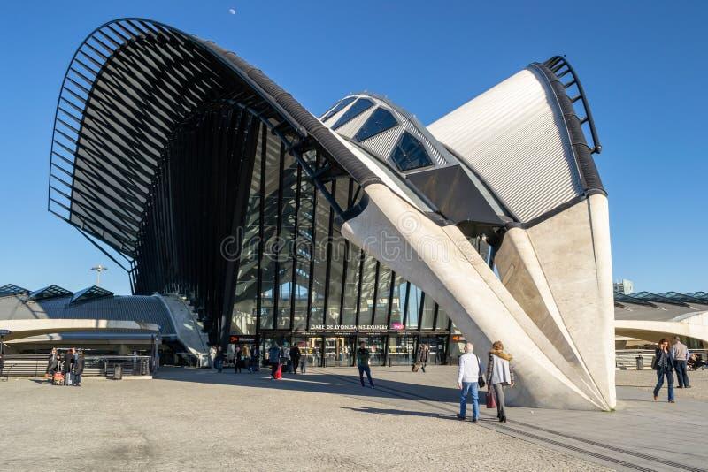 TGV station at Lyon Saint-Exupery, designed by architect Santiago Calatrava. Lyon, France - 16 March 2019: TGV station at Lyon Saint-Exupery, designed by royalty free stock photos