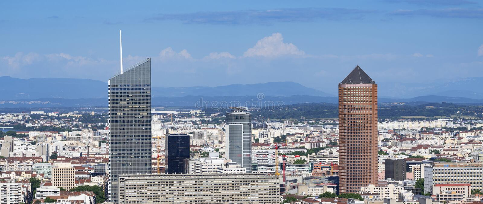 Famous view of Lyon city from Fourviere basilica royalty free stock images