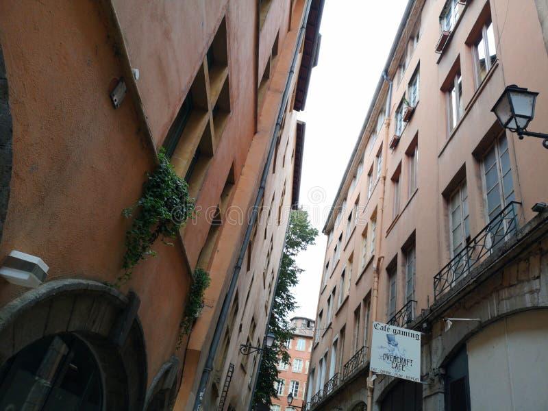 Lyon, France - November 08 - 2018: Facades view in the Old Lyon district. Lyon, France. royalty free stock image