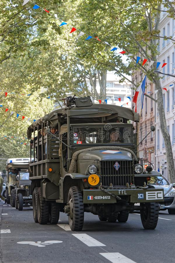 Army truck in the streets of Lyon stock photos