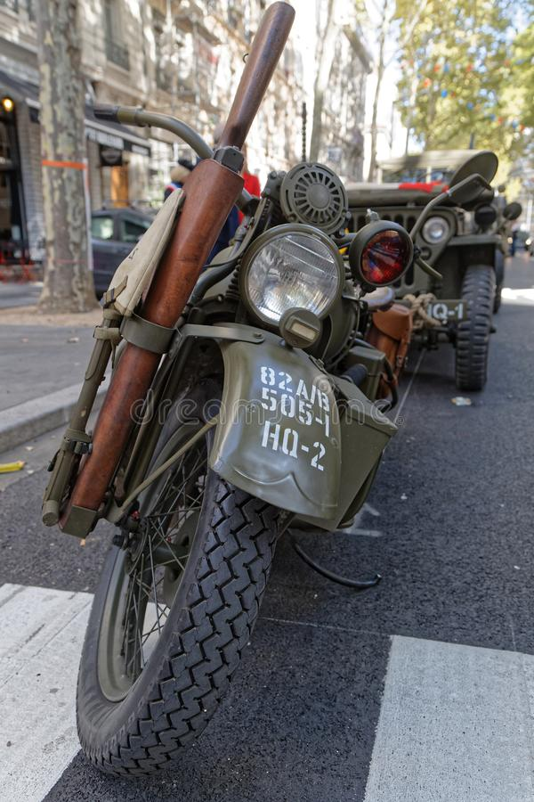 Motorbike and other vehicles in the streets of Lyon stock photo