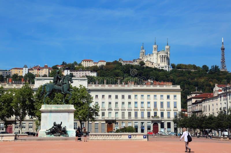 Lyon Frankreich der Hauptplatz nannte Place Bellecour und Equestria stockfotos