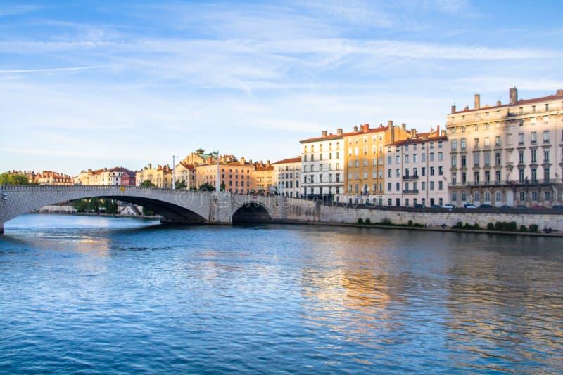 Lyon, Frankreich, die Saone und Br?cke stockfoto