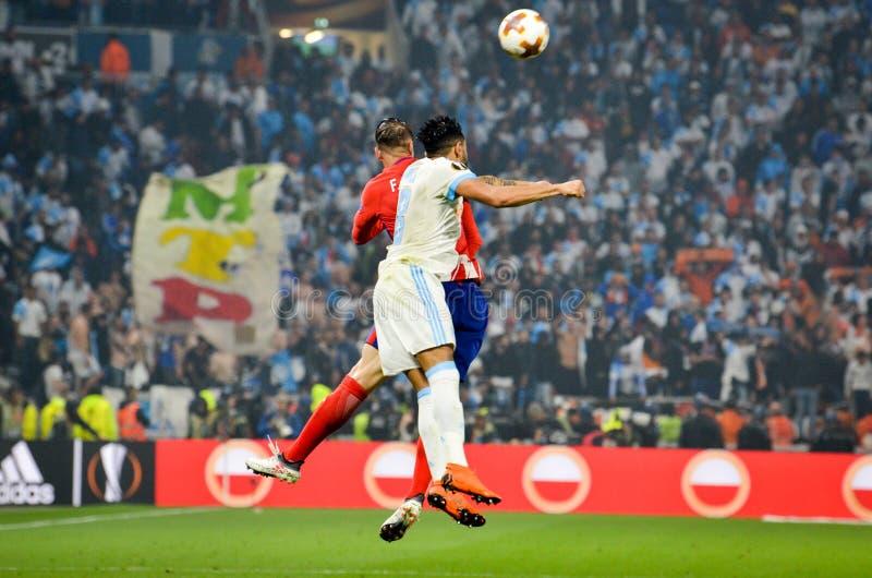 LYON, FRANKREICH - 16. Mai 2018: Jordan Amavi gegen Fernando Torre lizenzfreies stockbild