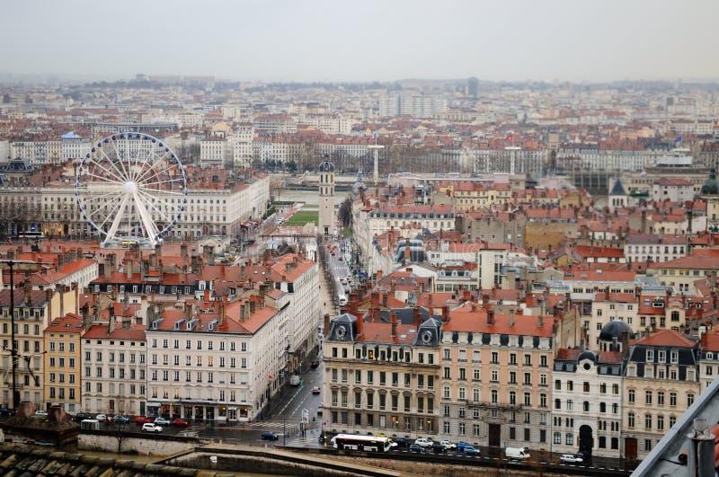 Lyon, Frankrijk. Antenne en panorama. stock afbeeldingen