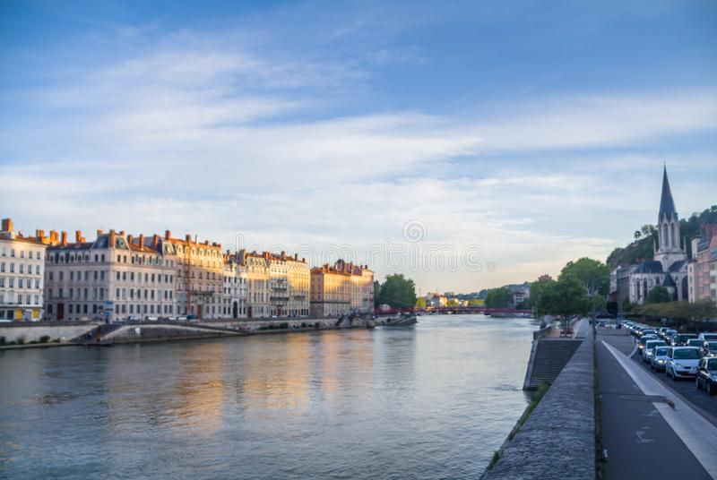 Lyon, Frankrijk, Saone-rivier en brug stock foto