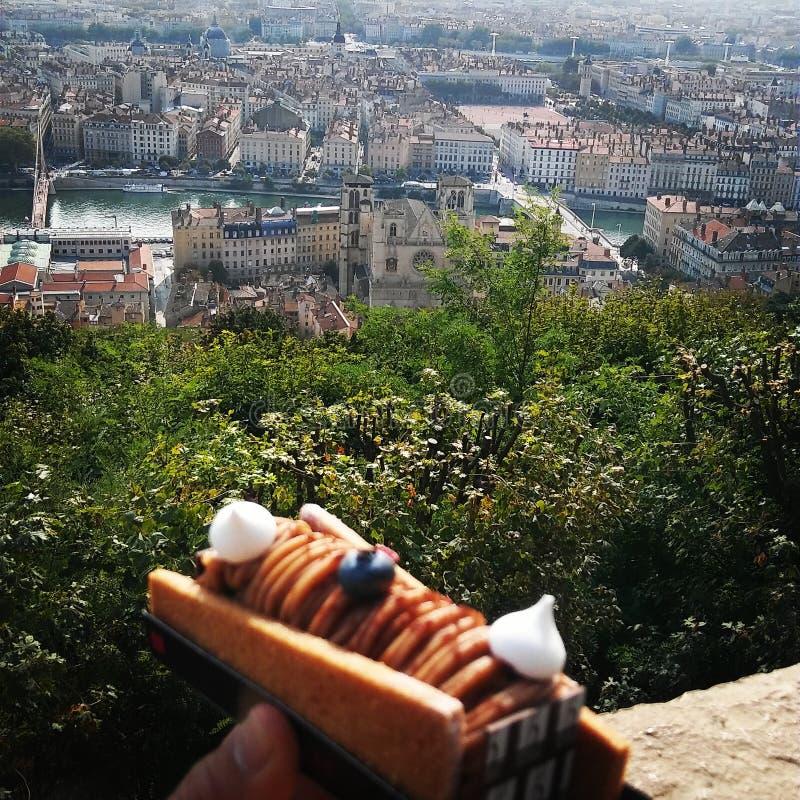 Lyon Frankrike från en konditorsikt royaltyfri foto