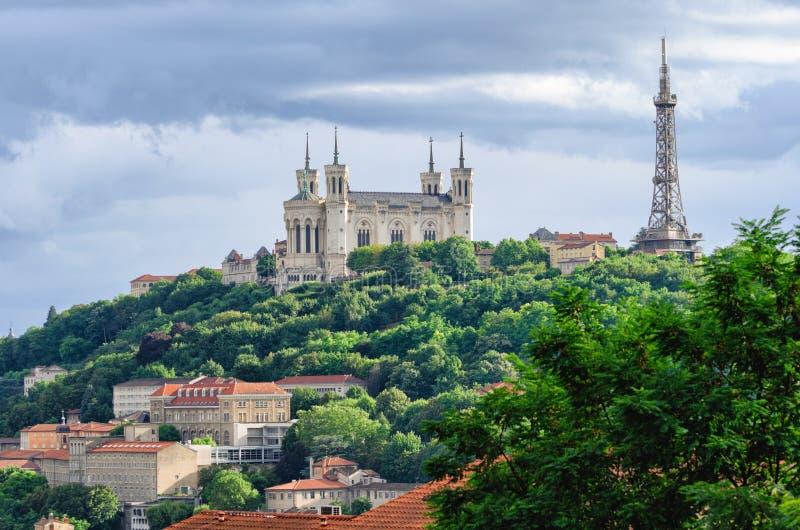 Lyon Frankrike Notre-Dame de Fourviere fotografering för bildbyråer