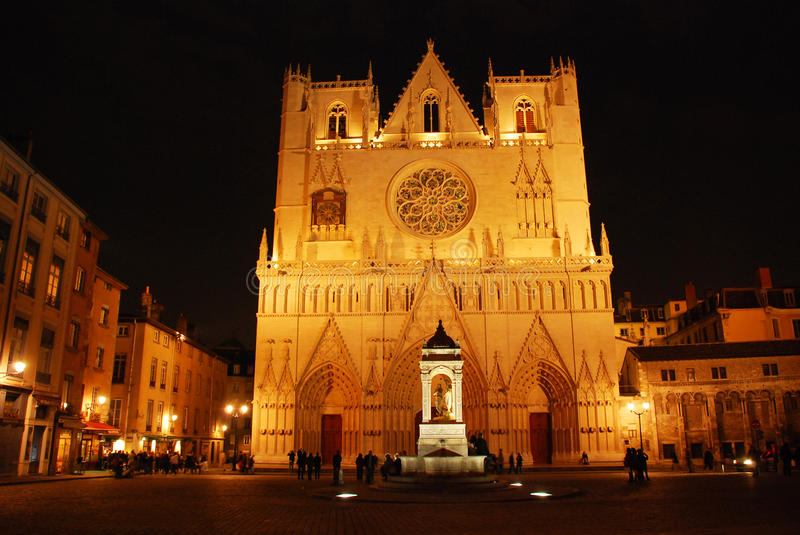 Lyon gothic cathedral St. James by night