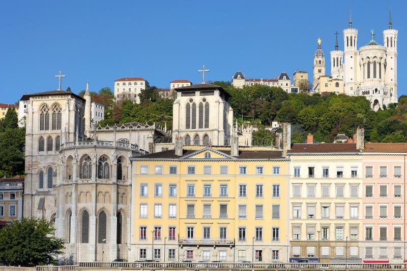 Lyon mit Basilika und Kathedrale stockfoto