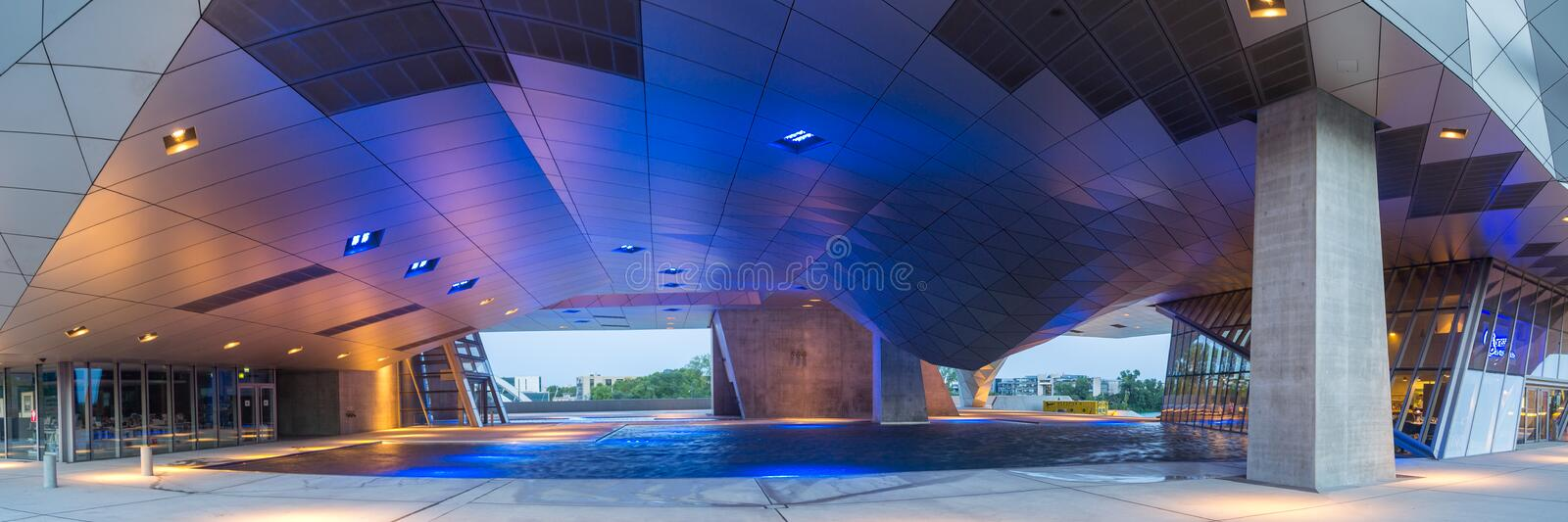 Lyon Musee des Confluences. Lyon, France - 25. August 2017. View of the new Musee des Confluences, a modern Museum Building stock photography
