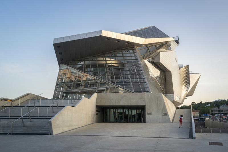 Lyon Musee des Confluences. Lyon, France - 25. August 2017. View of the new Musee des Confluences, a modern Museum Building royalty free stock image