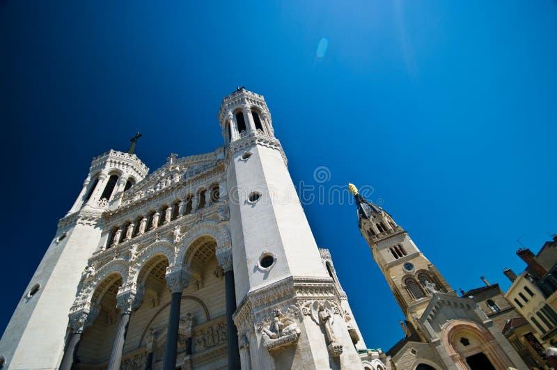 Lyon Notre Dame Cathedral bred vinkel arkivbild