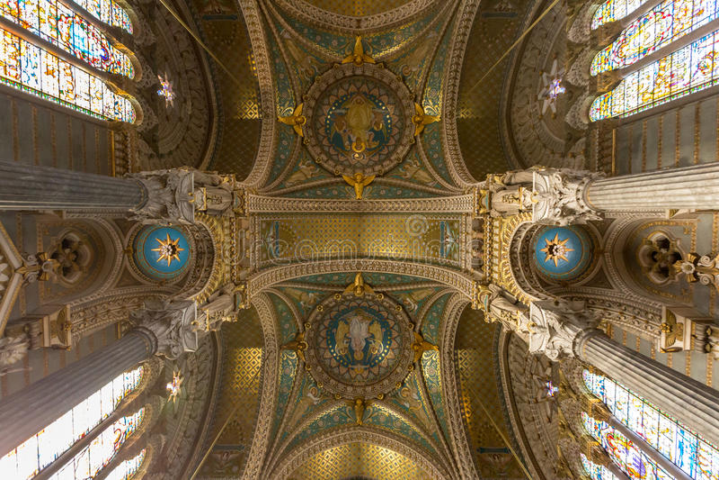 Lyon Notre-Dame de Fourviere Church stockfotografie