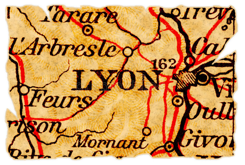 Lyon old map stock images