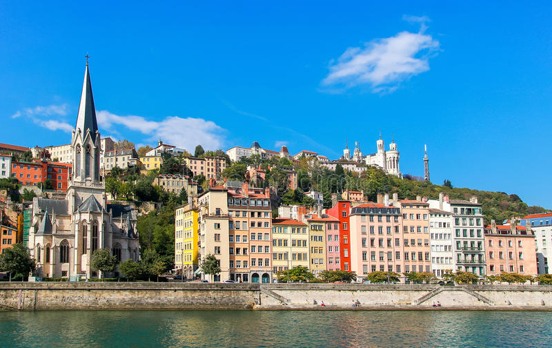 Lyon old town. And the river saone stock photo