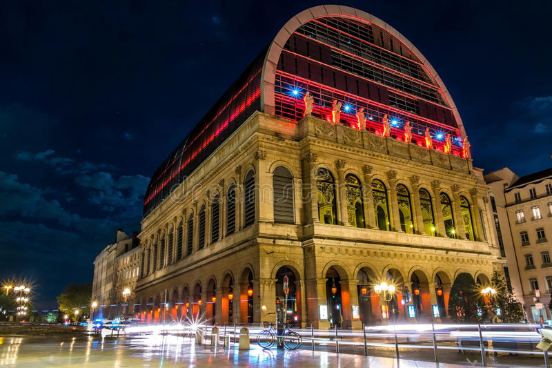 Lyon Opera building into the night with lightpainting stock image