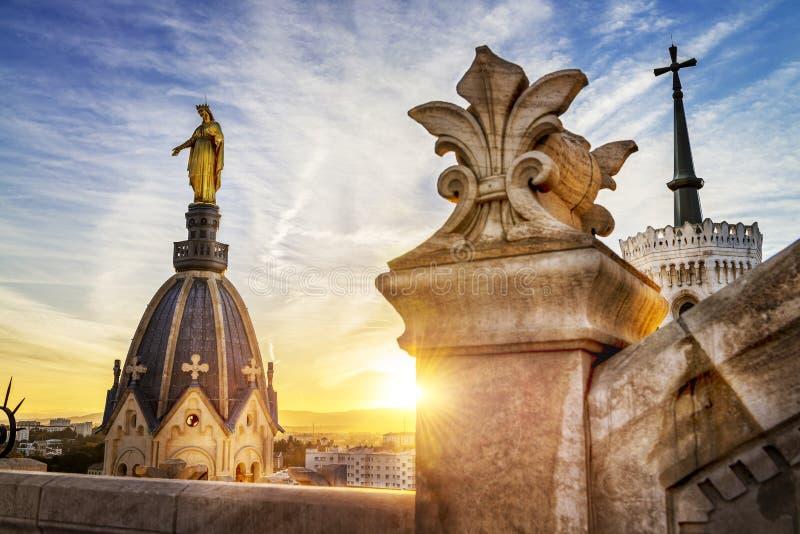 Lyon pelo por do sol imagem de stock