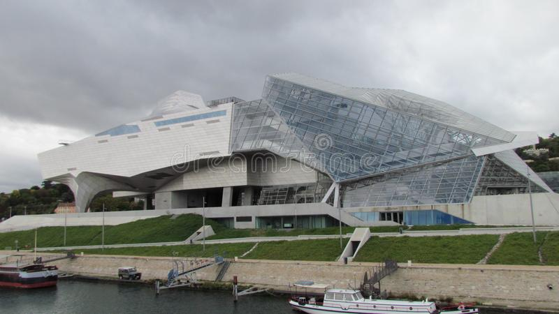 View on Confluences Museum Lyon. Lyon Rhone France, 1 October 2017: View on Musee des Confluences futuristic science and anthropology museum deconstructivism stock image