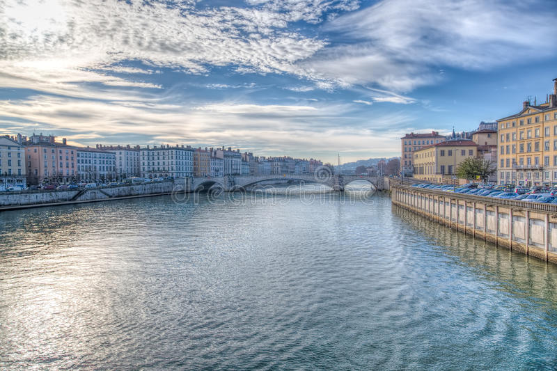Lyon and the River Saone, France. With a view along the riverbanks showing the historical architecture of this French city stock photo