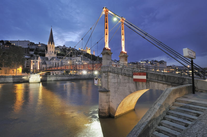 Lyon and river saone at night. Bridge over river saone at night in Lyon, France royalty free stock image