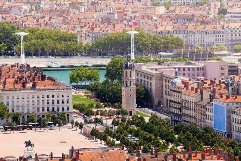 Lyon-` s quadratischer Fußgängerplatz Bellecour, Frankreich stockbild